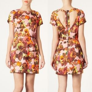 Top Shop Floral Cutout back dress (peach/pink)